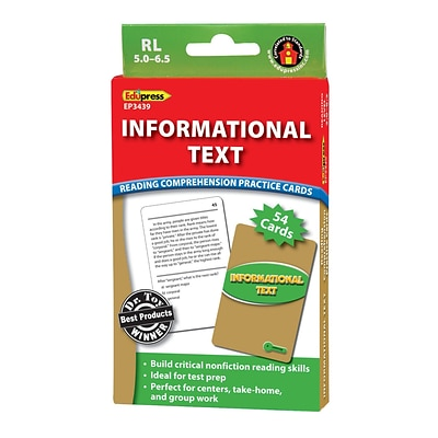 Informational Text Reading Comprehension Practice Cards, Green Level for Grades 5-7, 54 Pack (EP-3439)