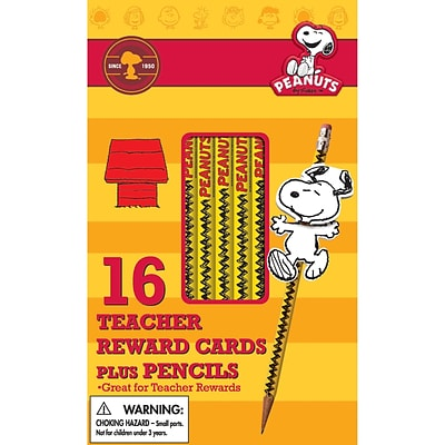 Eureka® Peanuts® Snoopy Way To Go Rewards Pencil With Toppers, 16/Pack