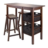 Table w/Two 24 Saddle Seat Stools Walnut