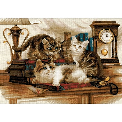 Riolis® 15 3/4 x 11 3/4 Counted Cross Stitch Kit, Furry Friends