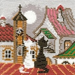 Riolis® 5 x 5 Counted Cross Stitch Kit, City & Cats Spring