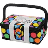 Singer® 7 1/4 x 3 1/2 x 5 Sewing Basket, Bright Dots