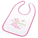 Lillian Rose™ First Birthday Cotton Baby Bib, Pink