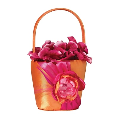 Lillian Rose™ Flower Basket, Hot Pink/Orange