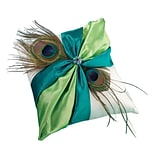 Lillian Rose™ 7 x 7 Peacock Feather Ring Pillow, Green/Teal/Blue