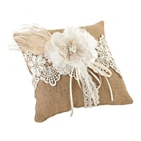 Lillian Rose™ 8 x 8 Burlap and Lace Ring Pillow