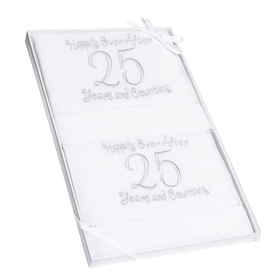 Lillian Rose™ 14 1/4 Pair of 25th Anniversary Linen Towel