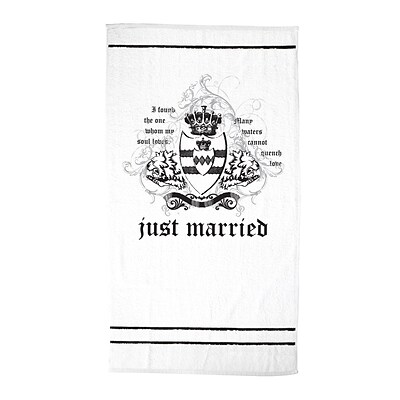Lillian Rose™ 54 Just Married Beach Towel, White