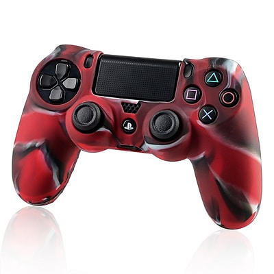 Insten® Protective Skin Case For Sony PlayStation 4 Controller; Camouflage Navy Red