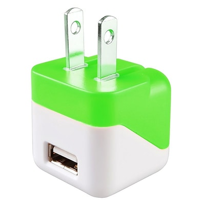 Insten® USB Mini Travel Charger, Green