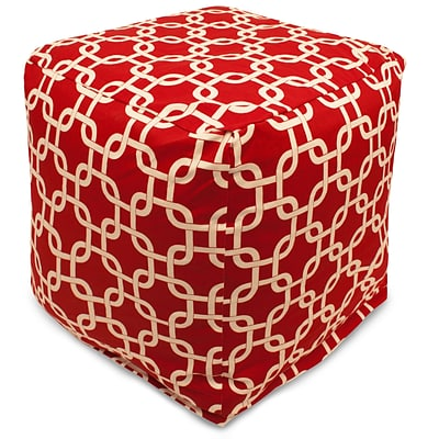 Majestic Home Goods Outdoor Cotton Duck/Twill Links Small Cube Ottoman, Red