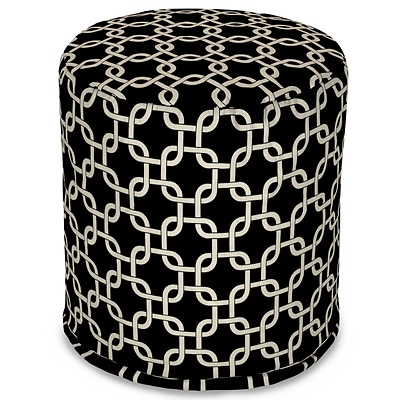 Majestic Home Goods Outdoor Polyester Links Small Pouf Ottoman, Black