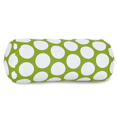 Majestic Home Goods Indoor Large Polka Dot Round Bolster Pillow; Hot Green