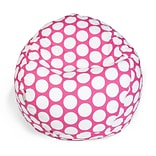 Majestic Home Goods Indoor Large Polka Dot Cotton Duck/Twill Small Classic Bean Bag Chair, Hot Pink