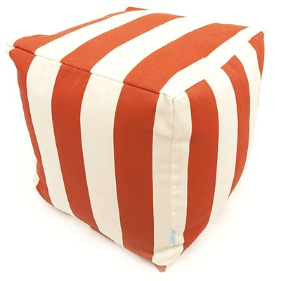 Majestic Home Goods Outdoor Polyester Vertical Stripe Small Cube Ottoman, Orange