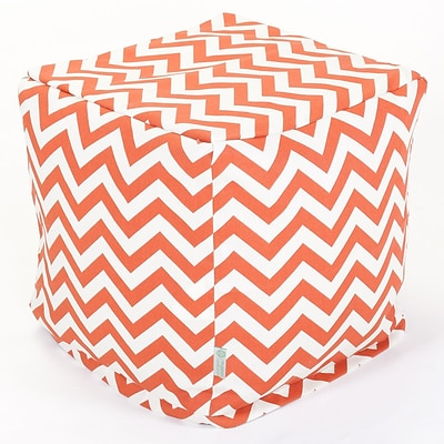 Majestic Home Goods Outdoor Polyester Chevron Small Cube Ottoman, Burnt Orange