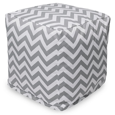 Majestic Home Goods Outdoor Cotton Duck/Twill Chevron Small Cube Ottoman, Gray