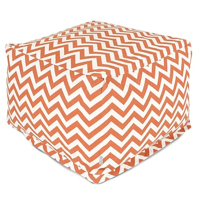 Majestic Home Goods Outdoor Polyester Chevron Large Ottoman, Orange