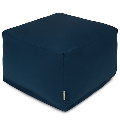 Majestic Home Goods Outdoor Polyester Solid Large Ottoman, Navy Blue