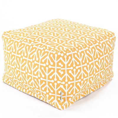 Majestic Home Goods Outdoor Polyester Aruba Large Ottoman, Citrus