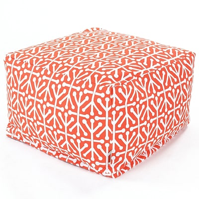 Majestic Home Goods Outdoor Polyester Aruba Large Ottoman, Orange