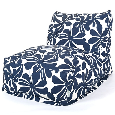 Majestic Home Goods Outdoor Polyester Plantation Bean Bag Chair Lounger, Navy Blue