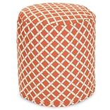Majestic Home Goods Outdoor Polyester Bamboo Small Pouf Ottoman, Burnt Orange