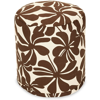 Majestic Home Goods Outdoor Polyester Plantation Small Pouf Ottoman, Chocolate