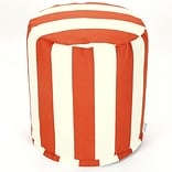 Majestic Home Goods Outdoor Polyester Vertical Stripe Small Pouf Ottoman, Burnt Orange