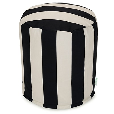 Majestic Home Goods Outdoor Polyester Vertical Stripe Small Pouf Ottoman, Black