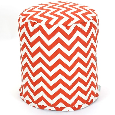 Majestic Home Goods Outdoor Polyester Chevron Small Pouf Ottoman, Burnt Orange