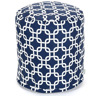 Majestic Home Goods Outdoor Polyester Links Small Pouf Ottoman, Navy Blue