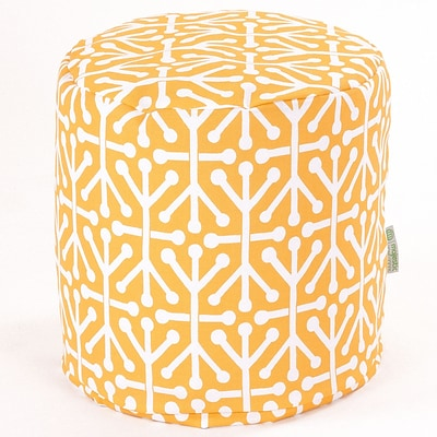 Majestic Home Goods Outdoor Polyester Aruba Small Pouf Ottoman, Citrus