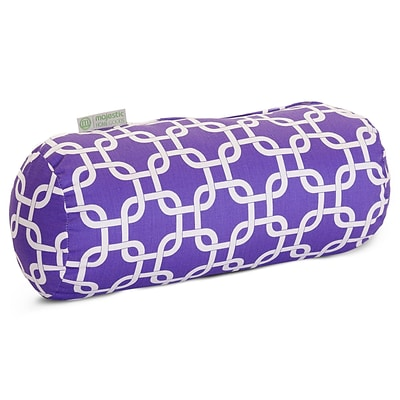 Majestic Home Goods Indoor Links Round Bolster Pillow; Purple