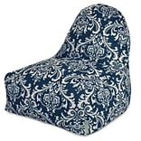 Majestic Home Goods Indoor/Outdoor French Quarter Polyester Kick-It Bean Bag Chair, Navy Blue