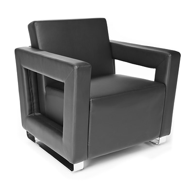 OFM™ Distinct Series Polyurethane Soft Seating Lounge Chair With Chrome Feet, Black