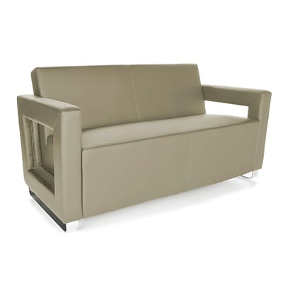 OFM™ Distinct Series PVC-Free Polyurethane Soft Seating Sofa With Chrome Feet, Taupe