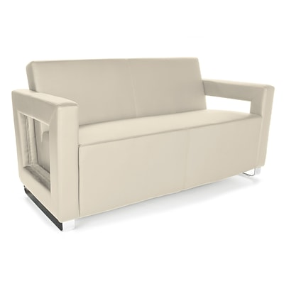 OFM™ Distinct Series PVC-Free Polyurethane Soft Seating Sofa With Chrome Feet, Cream