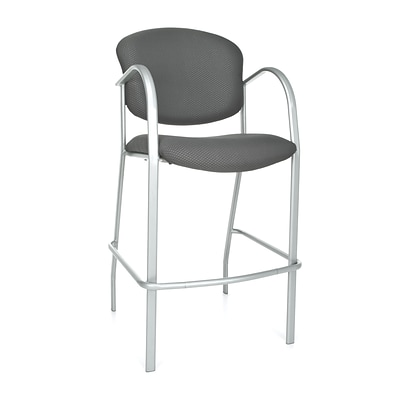 OFM™ Danbelle Series Fabric Cafe Height Chair With Arms, Graphite, 2/Pack