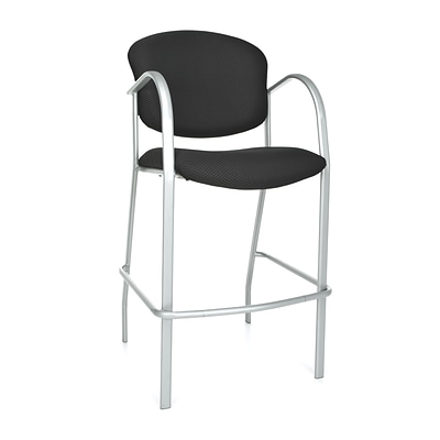 OFM™ Danbelle Series Fabric Cafe Height Chair With Arms, Ebony, 2/Pack