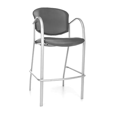 OFM™ Danbelle Series Anti-Bacterial Vinyl Cafe Height Chair With Arms, Charcoal, 2/Pack