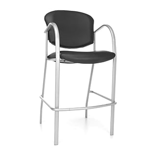 OFM™ Danbelle Series Anti-Bacterial Vinyl Cafe Height Chair With Arms, Black, 2/Pack