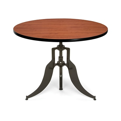 OFM™ Endure Series 42 Round Laminate Adjustable Height Table With Dark-Vein Base, Cherry