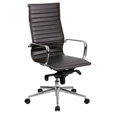 Flash Furniture High-Back Ribbed Leather Executive Office Chair, Brown