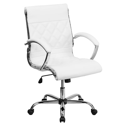 Flash Furniture Mid-Back Leather Executive Office Chair; White