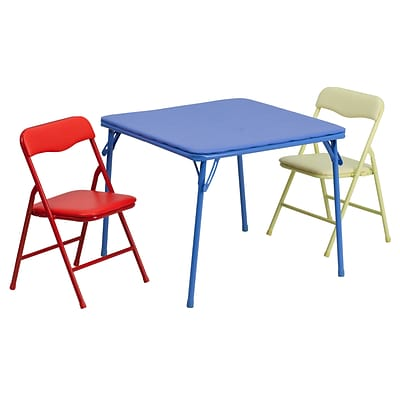 Flash Furniture 20 1/4 Kids Colorful 3 Piece Folding Table and Chair Set, Blue/Red/Yellow