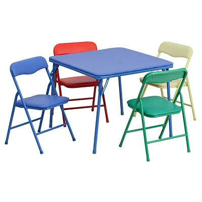 Flash Furniture 20 1/4 Kids Colorful 5 Piece Folding Table and Chair Set, Blue/Green/Red/Yellow