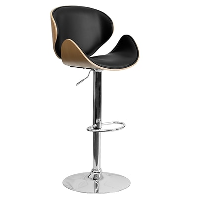 Flash Furniture 21 x 20 Adjustable Height Bar Stool W/Curved Black Vinyl Seat and Back, Beech