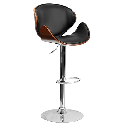 Flash Furniture 21 x 20 Adjustable Height Bar Stool W/Curved Black Vinyl Seat and Back; Walnut
