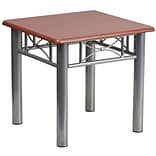 Flash Furniture 19 3/4 Laminate End Table with Silver Steel Frame, Mahogany